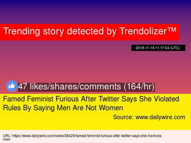 Famed Feminist Furious After Twitter Says She Violated Rules