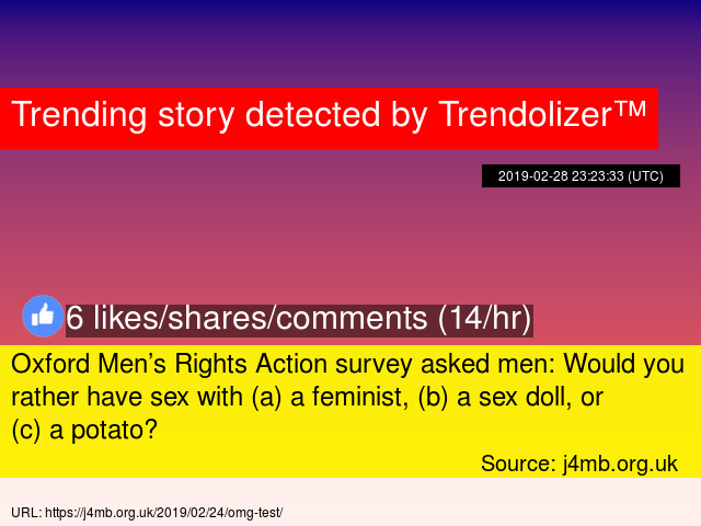 19608bbcbd7c Oxford Men  8217 s Rights Action survey asked men  Would you rather have  sex with (a) a feminist