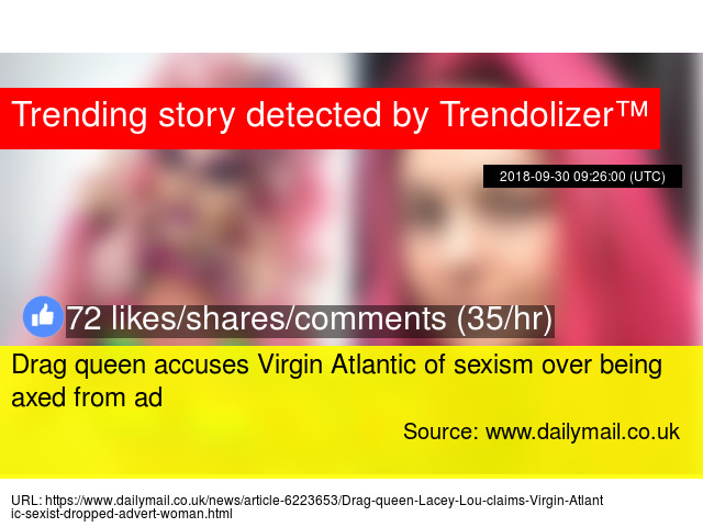 Drag queen accuses Virgin Atlantic of sexism over being axed